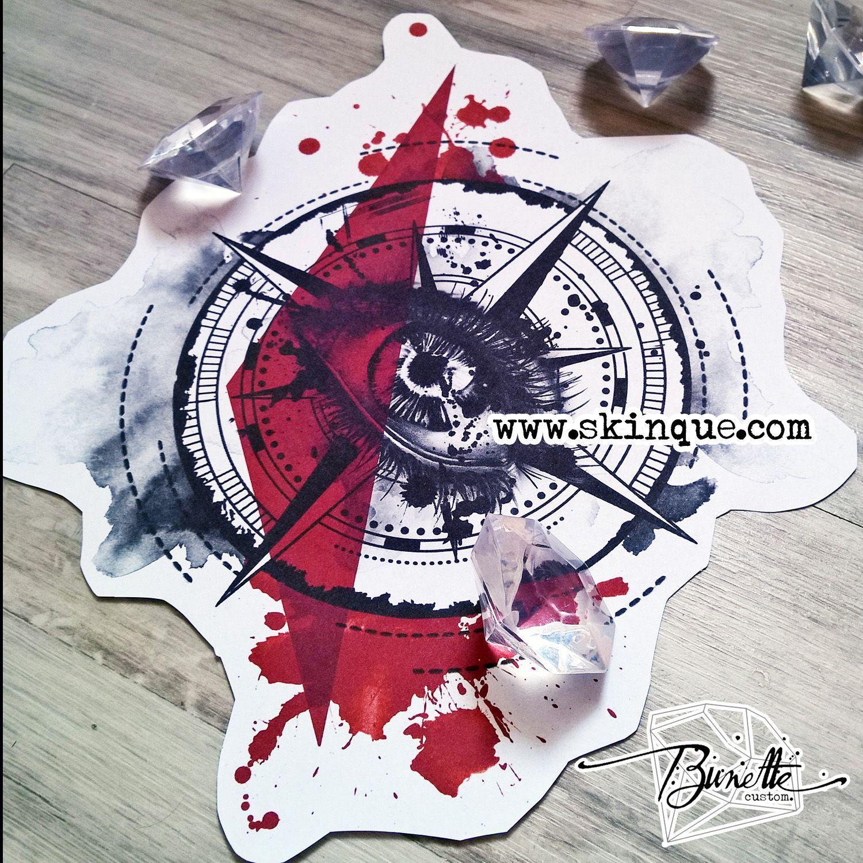 Trash polka compass eye realistic geometric tattoo design ...