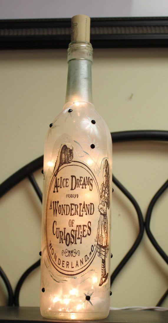 Vintage inspired alice in wonderland lighted wine bottle for Cute wine bottles