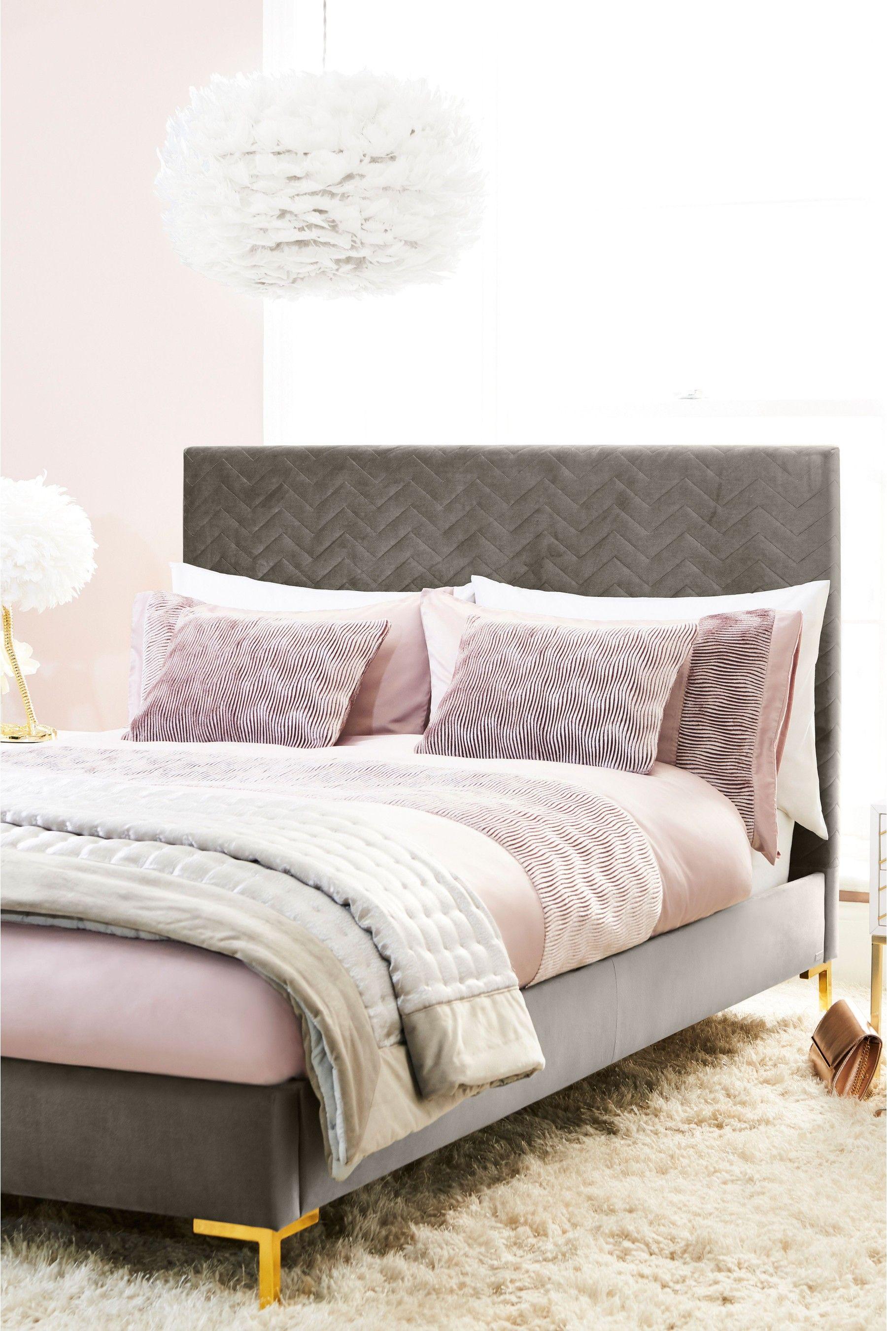 Lipsy Velvet Panel Duvet Cover and Pillowcase Set Pink