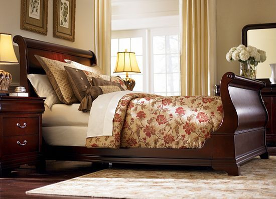 Master Bedroom Decor Dark Furniture Sleigh Beds