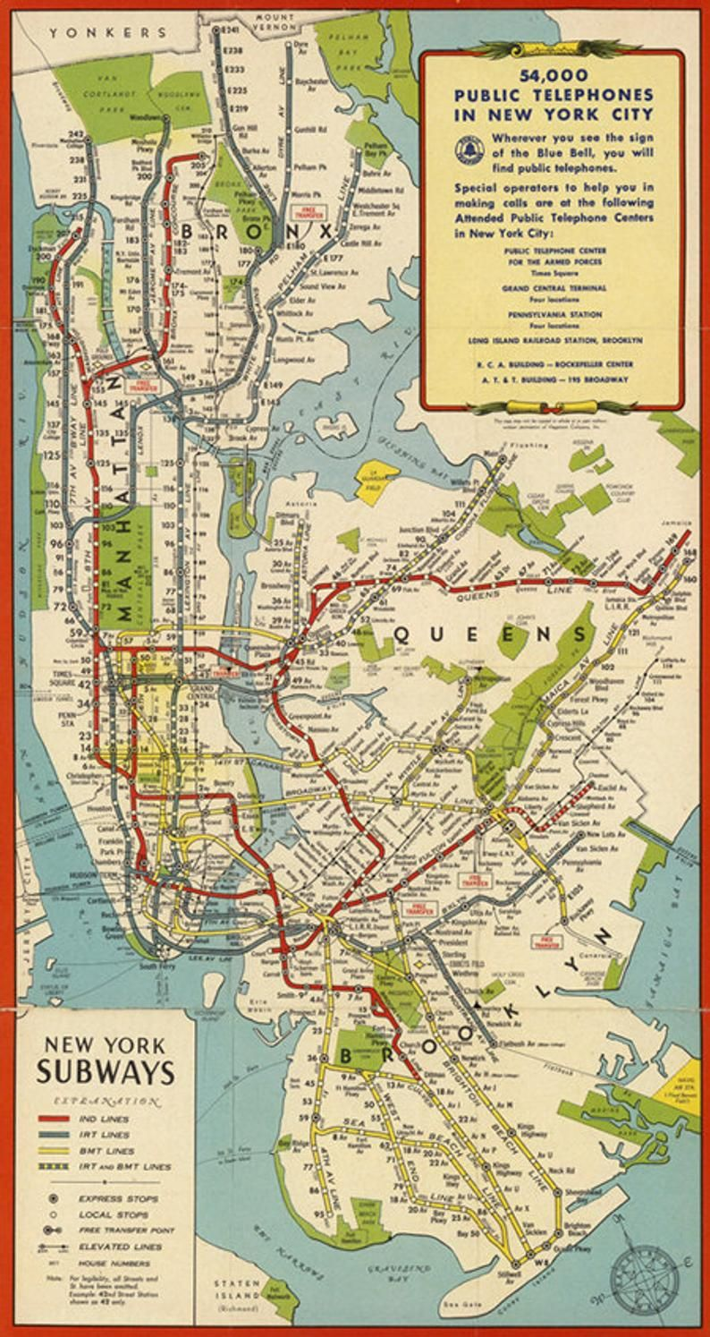 New York City Subway Map Printable.Antique New York Digital Map New York Subway Printable Poster New