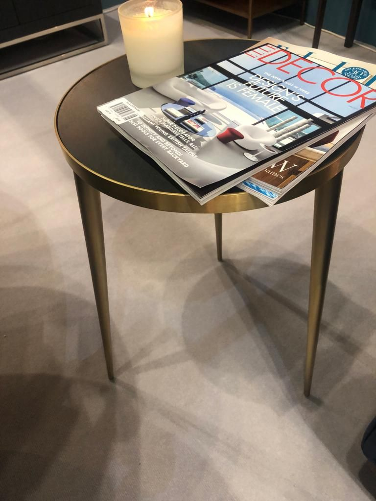 End Table By Di Designs With Grey Black Faux Concrete Top And Gold Finish Stainless Steel From The Neatham Collection End Tables Table Design