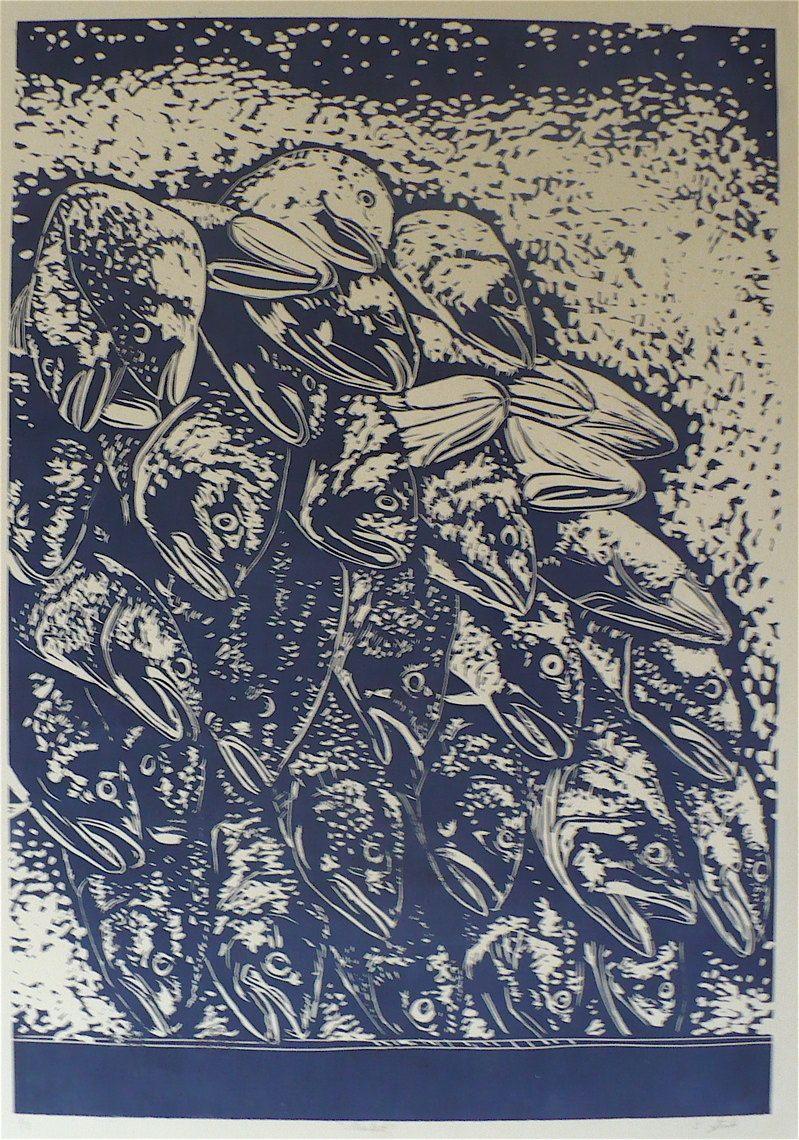 Market--Linoleum Print/Linocut of Fish at a Market. $10.00, via Etsy.