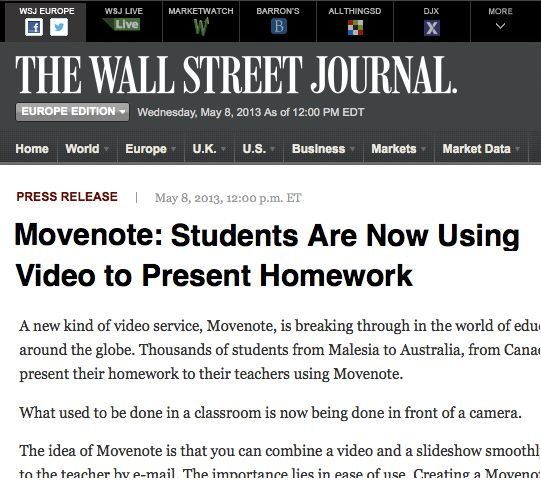 movenote on the wall street journal http online wsj on wall street journal online id=69978