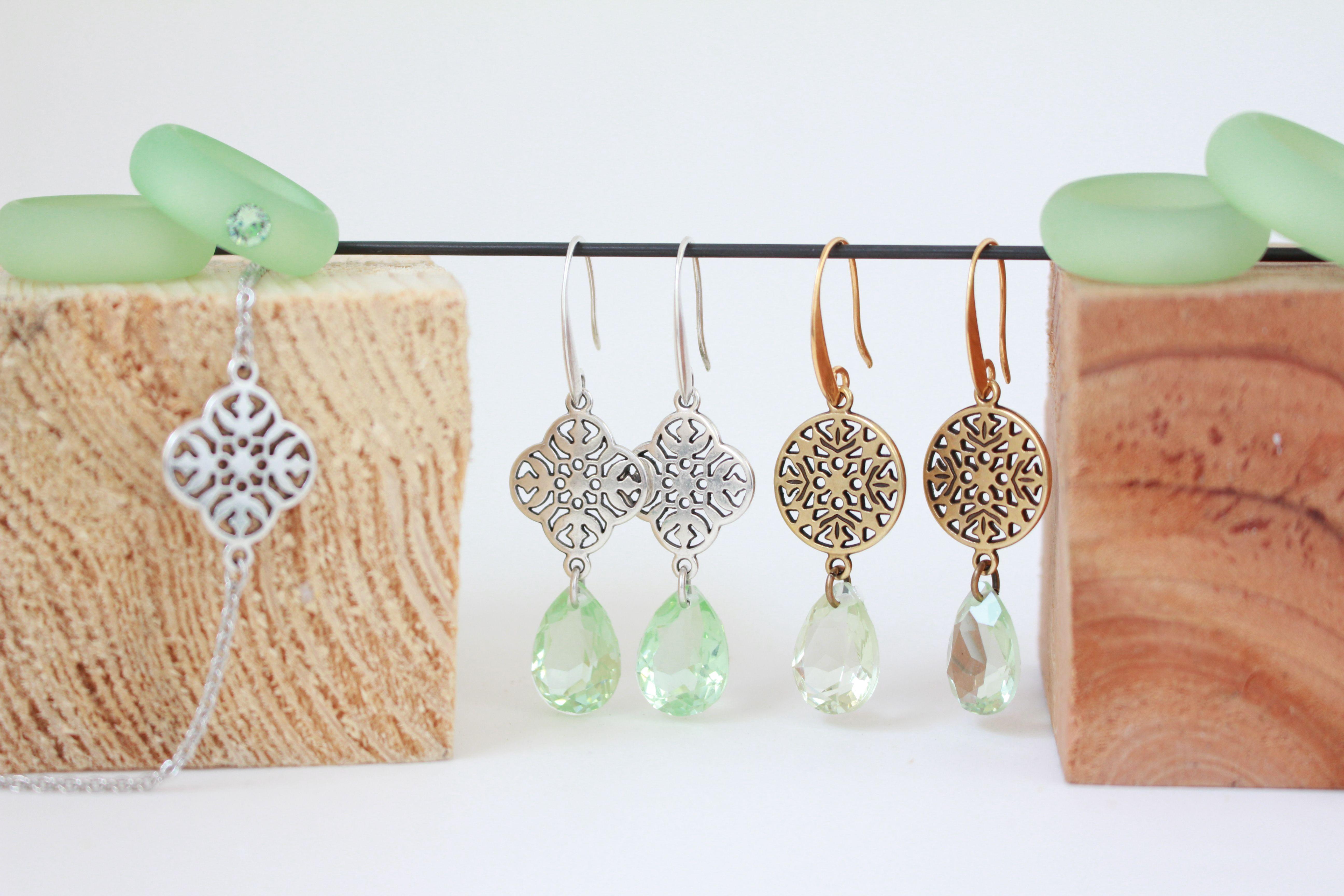 Sommertraum in Chrysalite und Silber / Kupfer  - Ohrhänger mit Armband und Polaris-Ringe