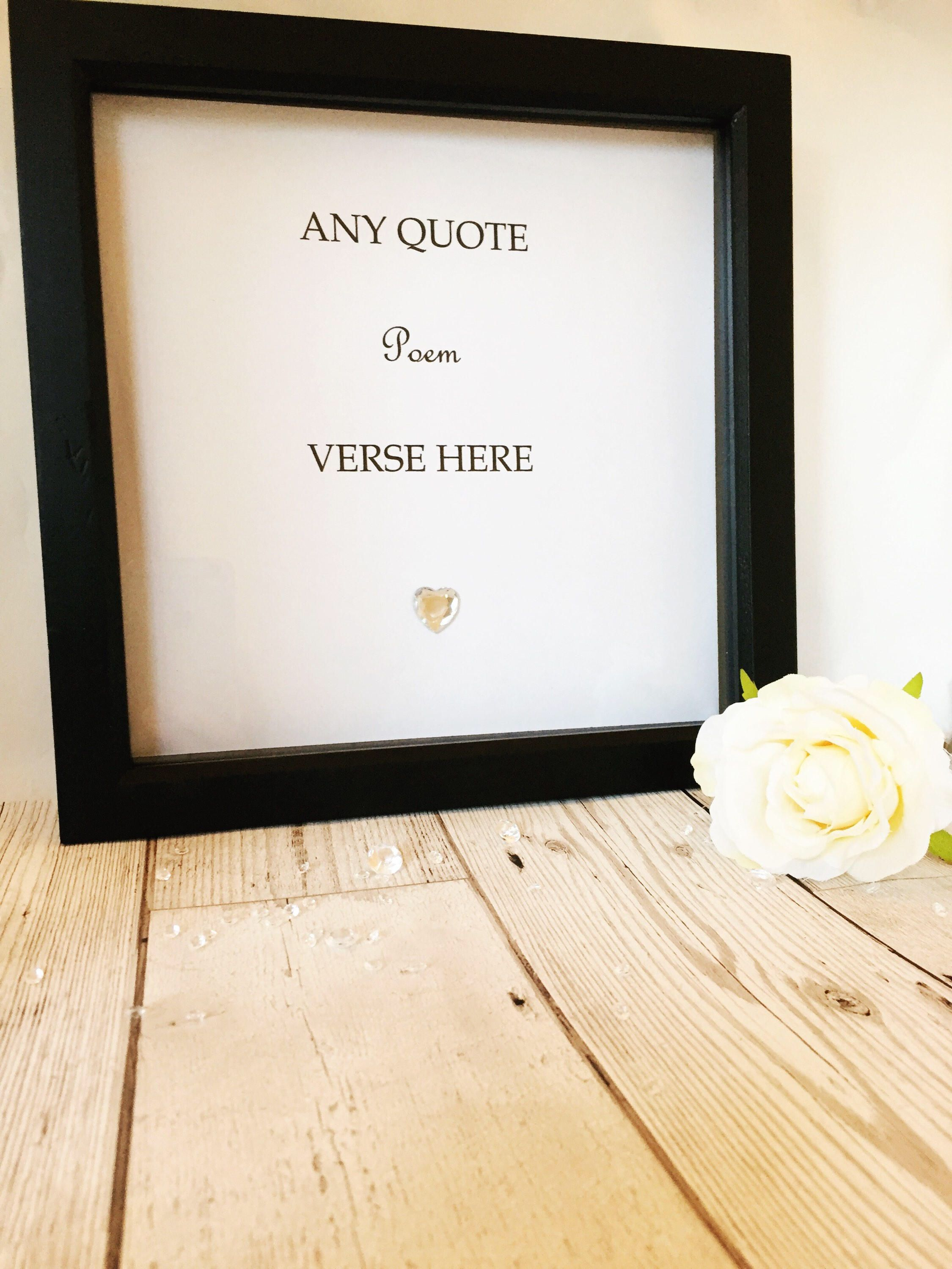 Personalised Love Box Frame - Any Verse, Message, Song Lyrics ...