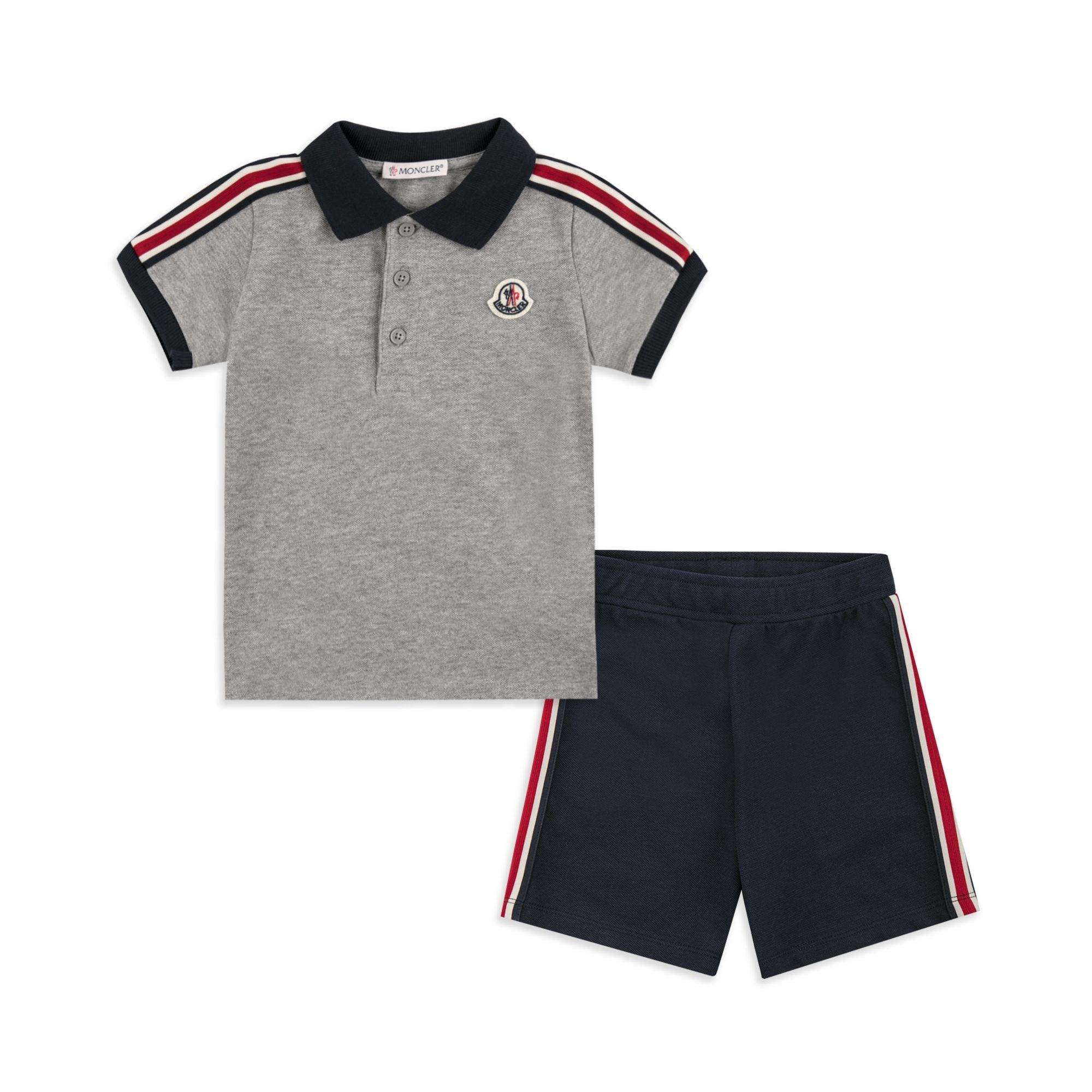 2d4bffc6b Baby Boys Striped Polo Outfit Set - Grey by Moncler | Baby Outfits ...