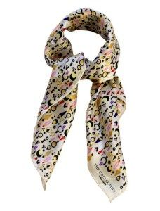 """""""Cream background with earring design silk scarf from Toolally"""""""