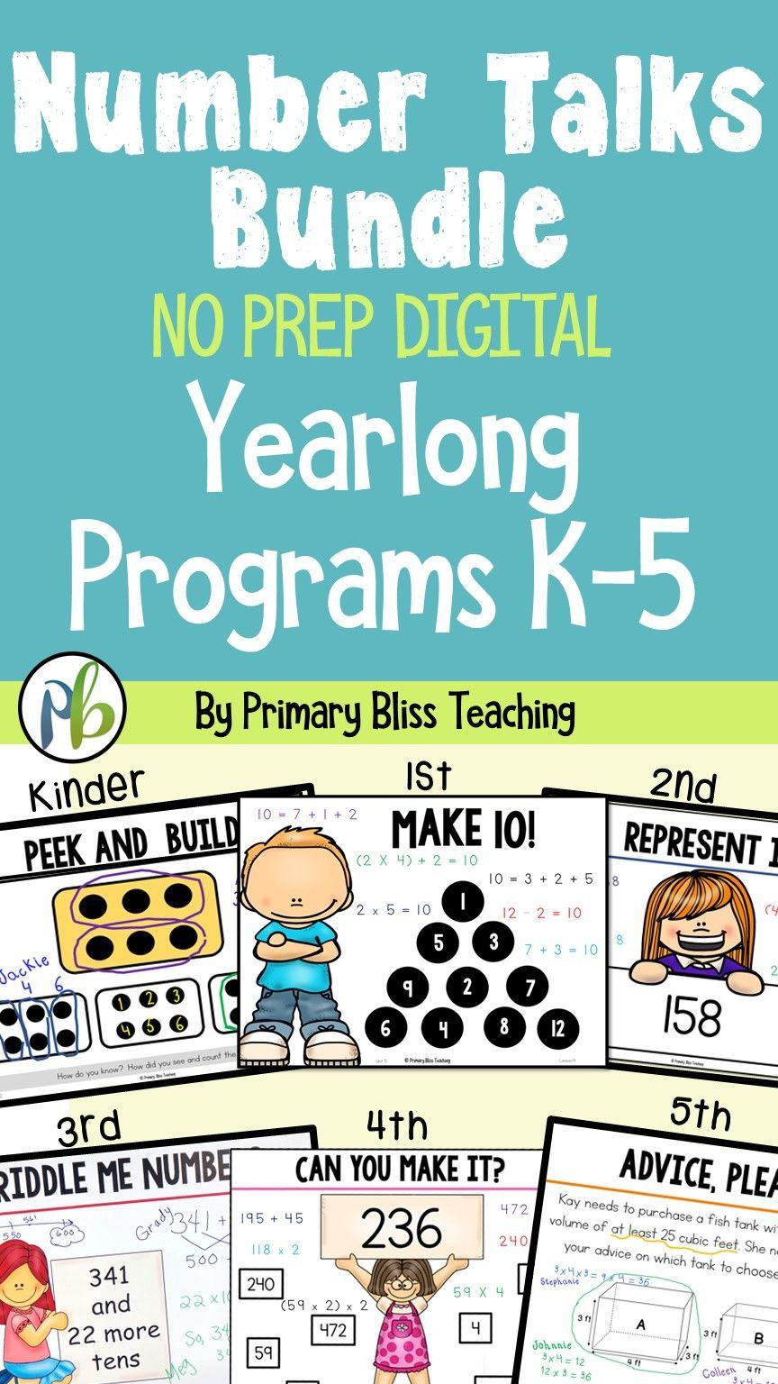 Number Talks BUNDLE (K-5 Yearlong Programs) DIGITAL & Printable ...