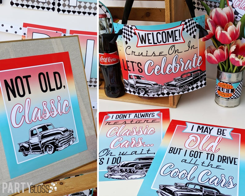 Classic Car Hot Rod Diner Instant Download Birthday Party Package | Hot Rod 50's Printable Party | Classic Car | Adult 60th 66th | Route 66