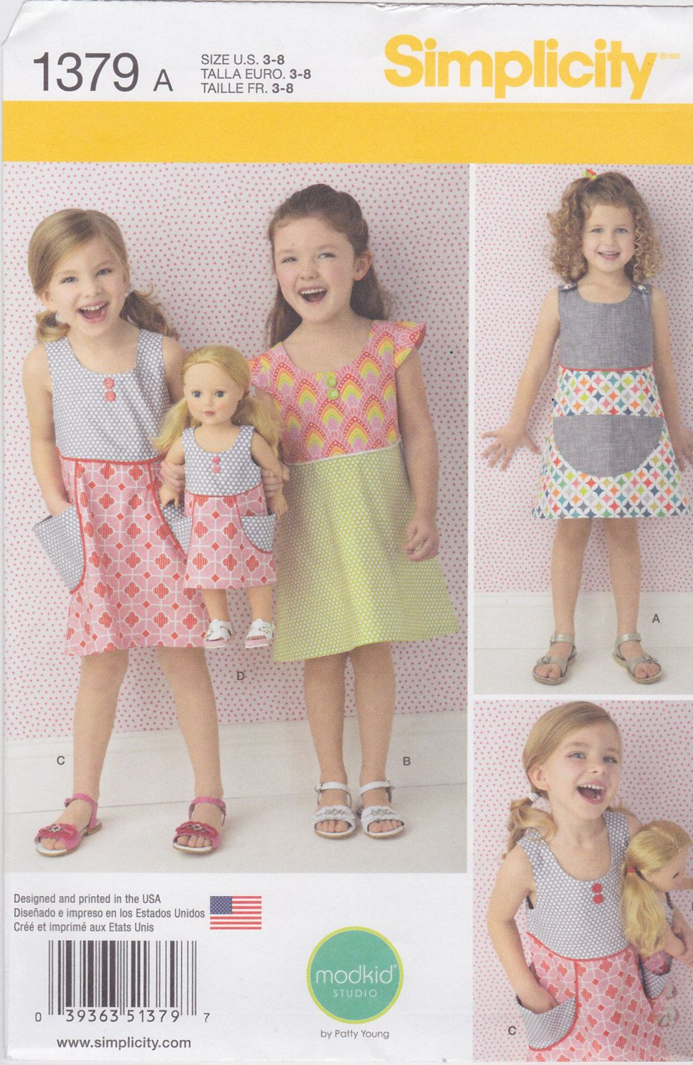 """Simplicity Sewing Pattern 1379 Child's Dress and Dress For 18"""" Doll New UNCUT by SheerWhimsyDesigns on Etsy"""