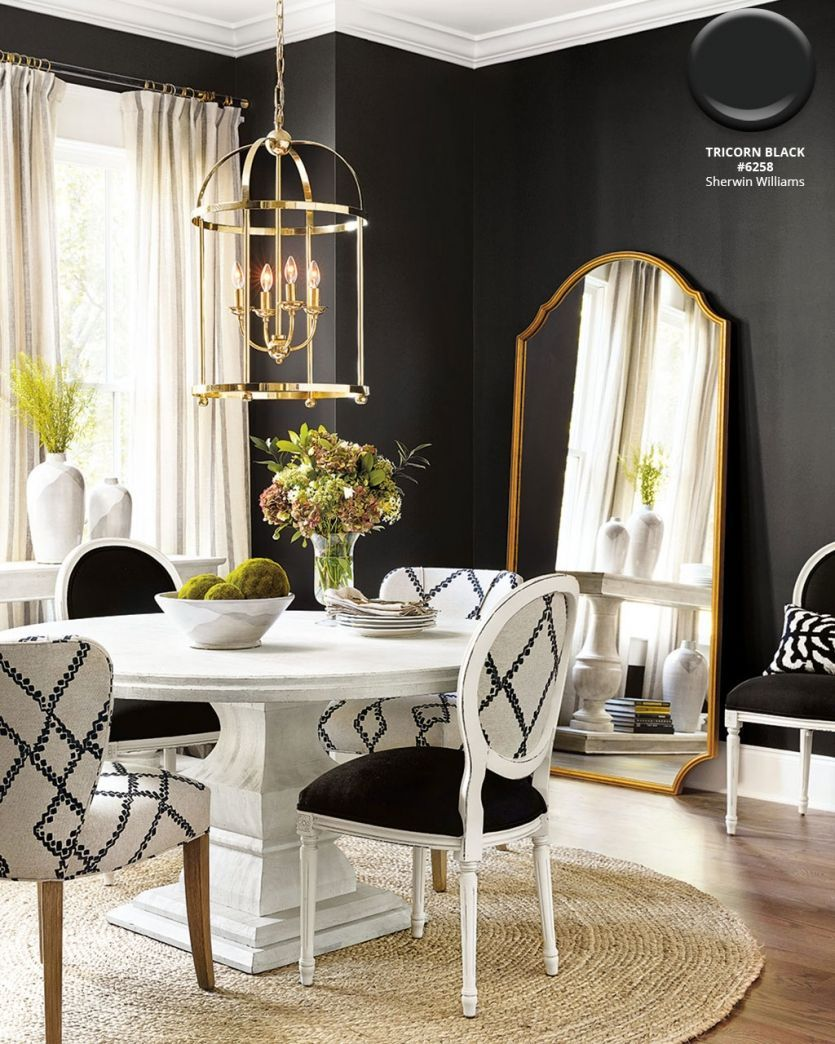 Dining Room With Walls In Sherwin Williams Tricorn Black A Jute