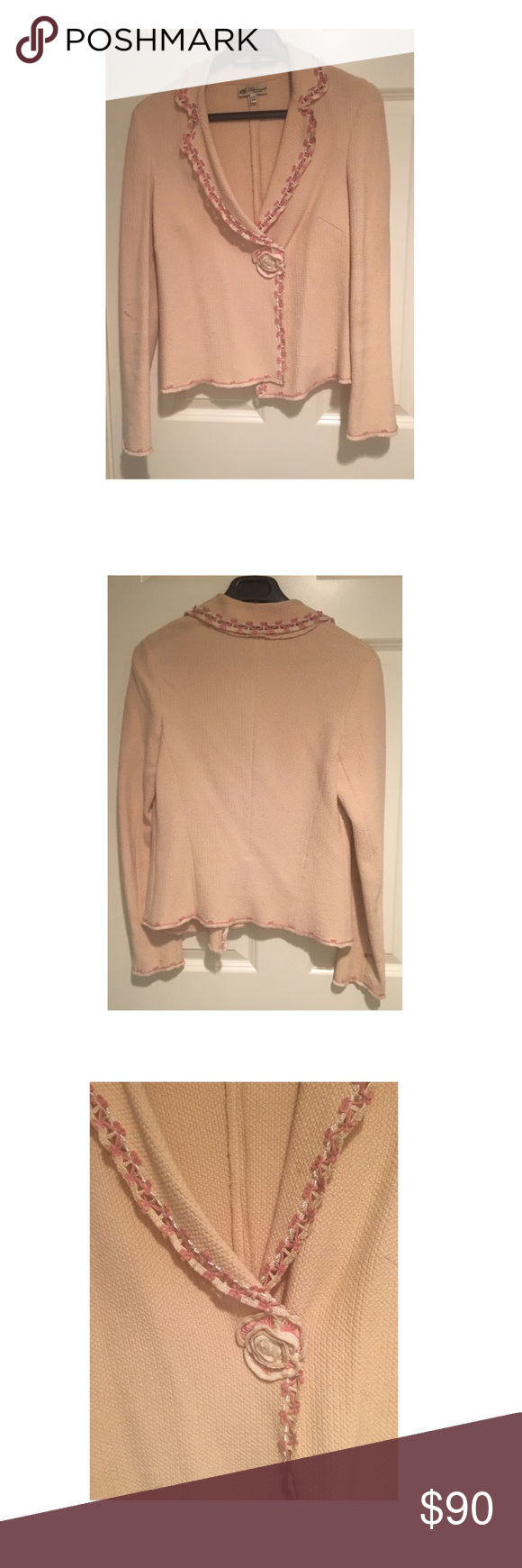 BLUMARINE JACKET A BLUMARINE pink light jacket perfect to throw on over a tee. Can be left open or closed. When worn closed the beautiful flower is shown. Detailing is key on this jacket Jackets & Coats Blazers