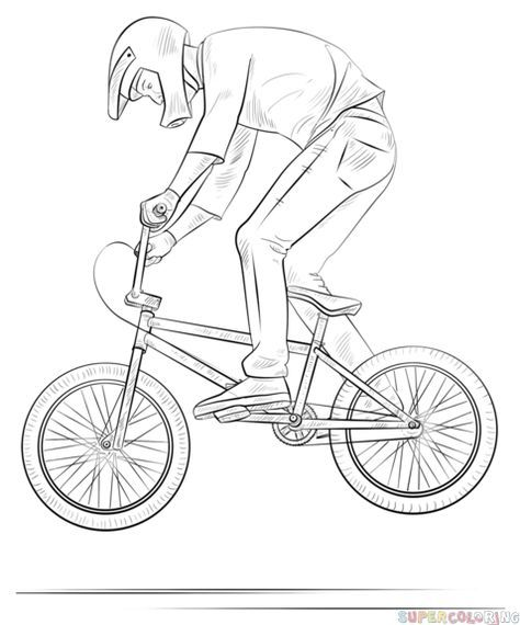 How to draw a bmx biker step by step. Drawing tutorials for kids and ...
