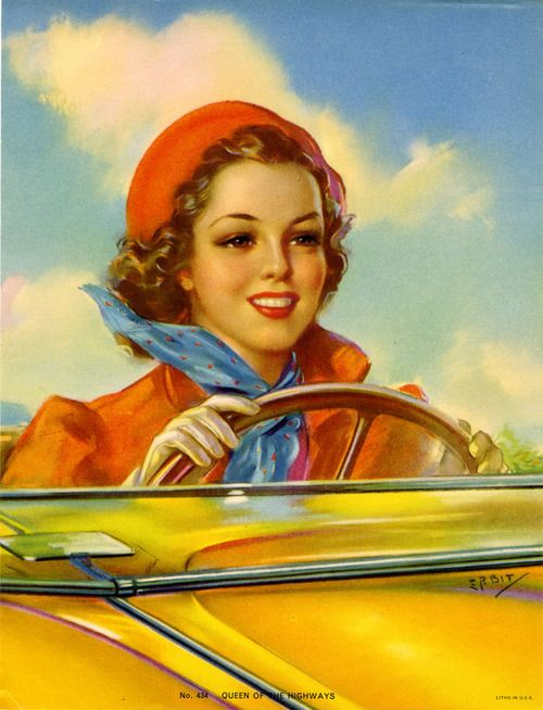 Queen Of The Highways By Jules Erbit Vintage Illustration Beautiful Woman Art Happy Birthday
