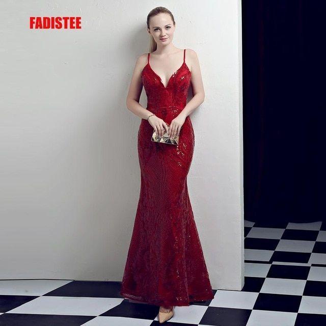 FADISTEE New arrival evening dresses prom party dress Vestido de Festa  luxury pattern Burgundy sequins long 0ce5fee778a0