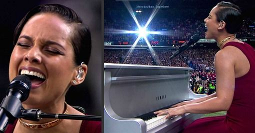 Alicia Keys Sings Longest National Anthem In Super Bowl History Video Hollywood Gossip National Anthem History Videos