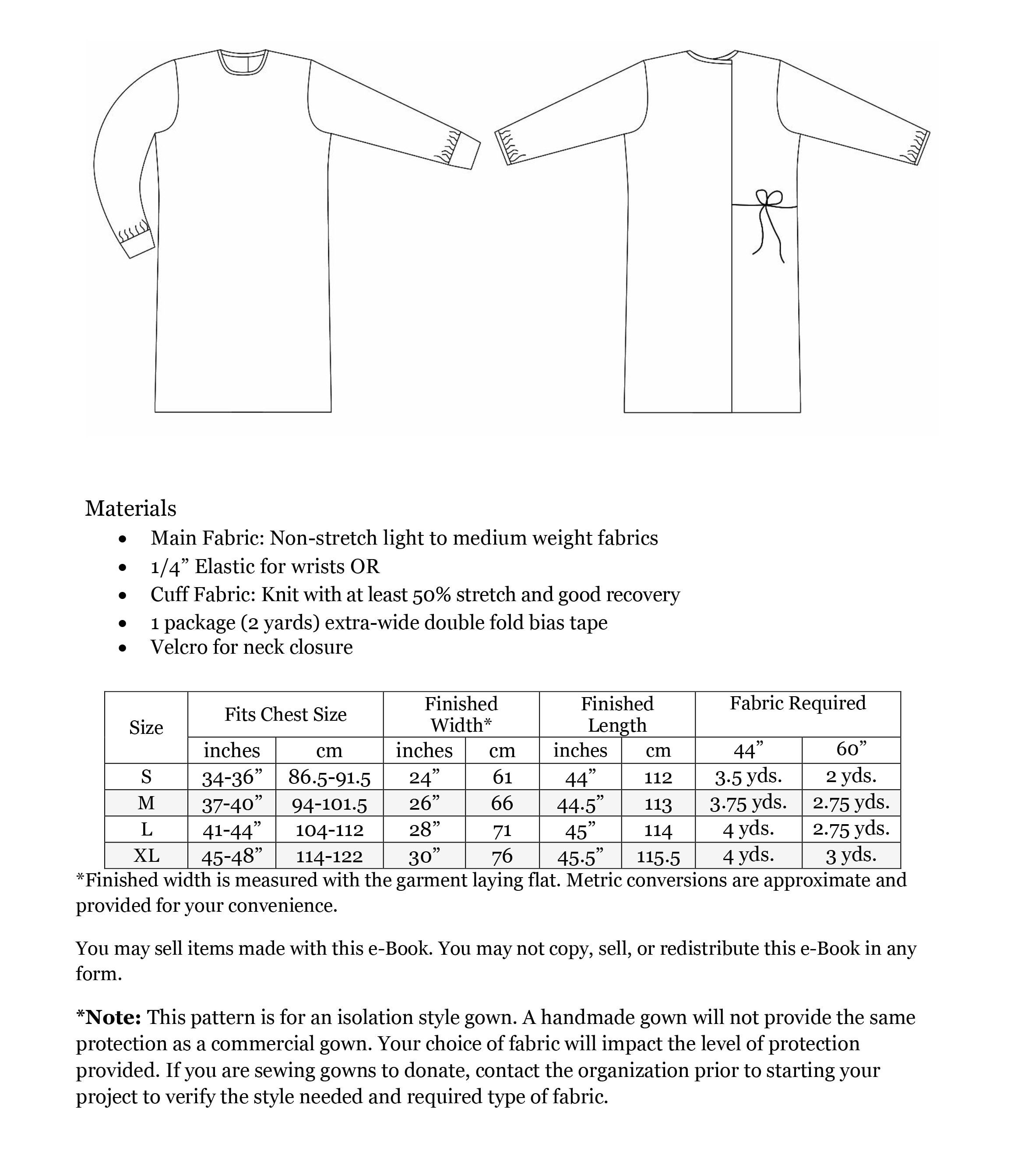 Isolation Gown In 2020 Gown Sewing Pattern Diy Sewing Pattern