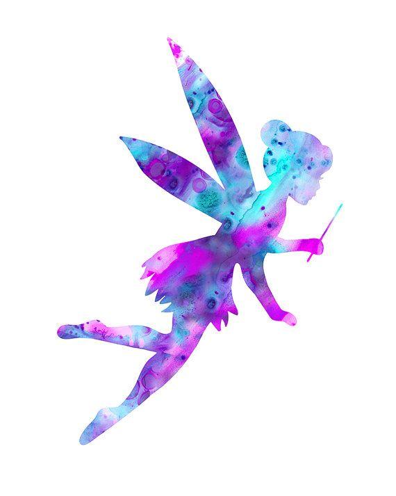 Fairy print fairy watercolor print purple fairy by FluidDiamondArt