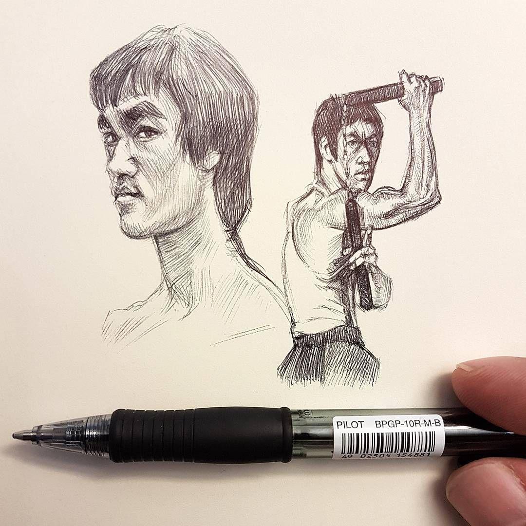 Bruce Lee Art Made By Swiss Artist Alberto Russo Alberto Sting Draw Drawing Pen Dessin Fineliner Human Sketchbook D Bruce Lee Art Art Sketch Book