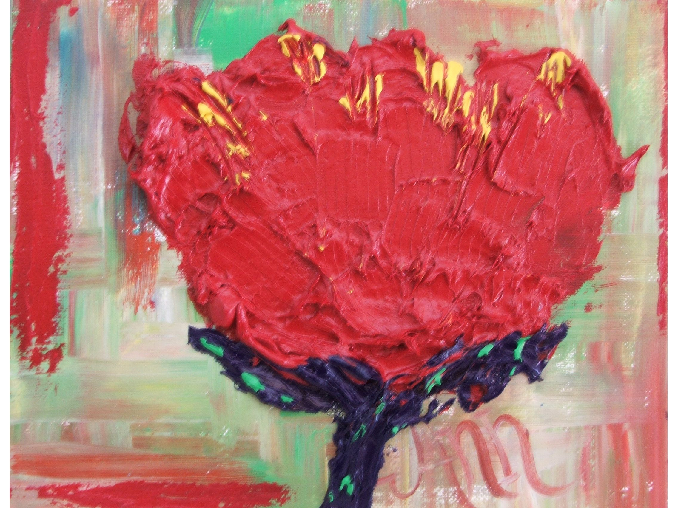 #Funky  #textured #red #flower #painting by #Ann #Lutz.