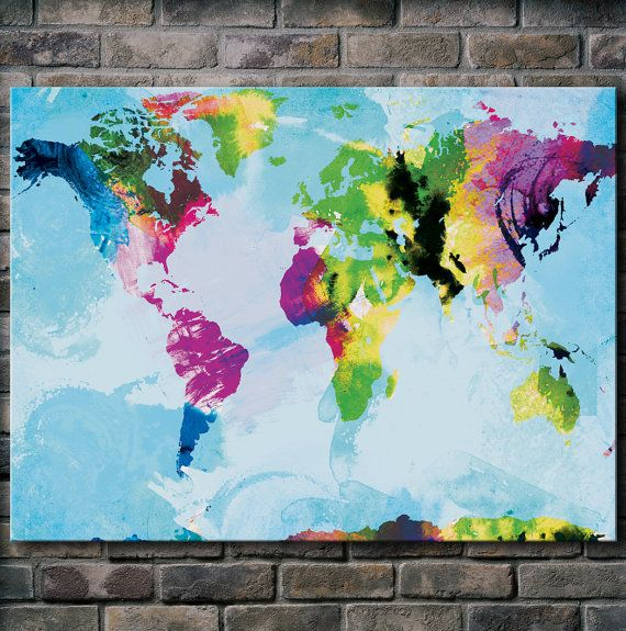 Watercolor world map mounted canvas wall art multiple color loving this art watercolor world map 12x18 canvas print by sunnychampagne on etsy gumiabroncs Images