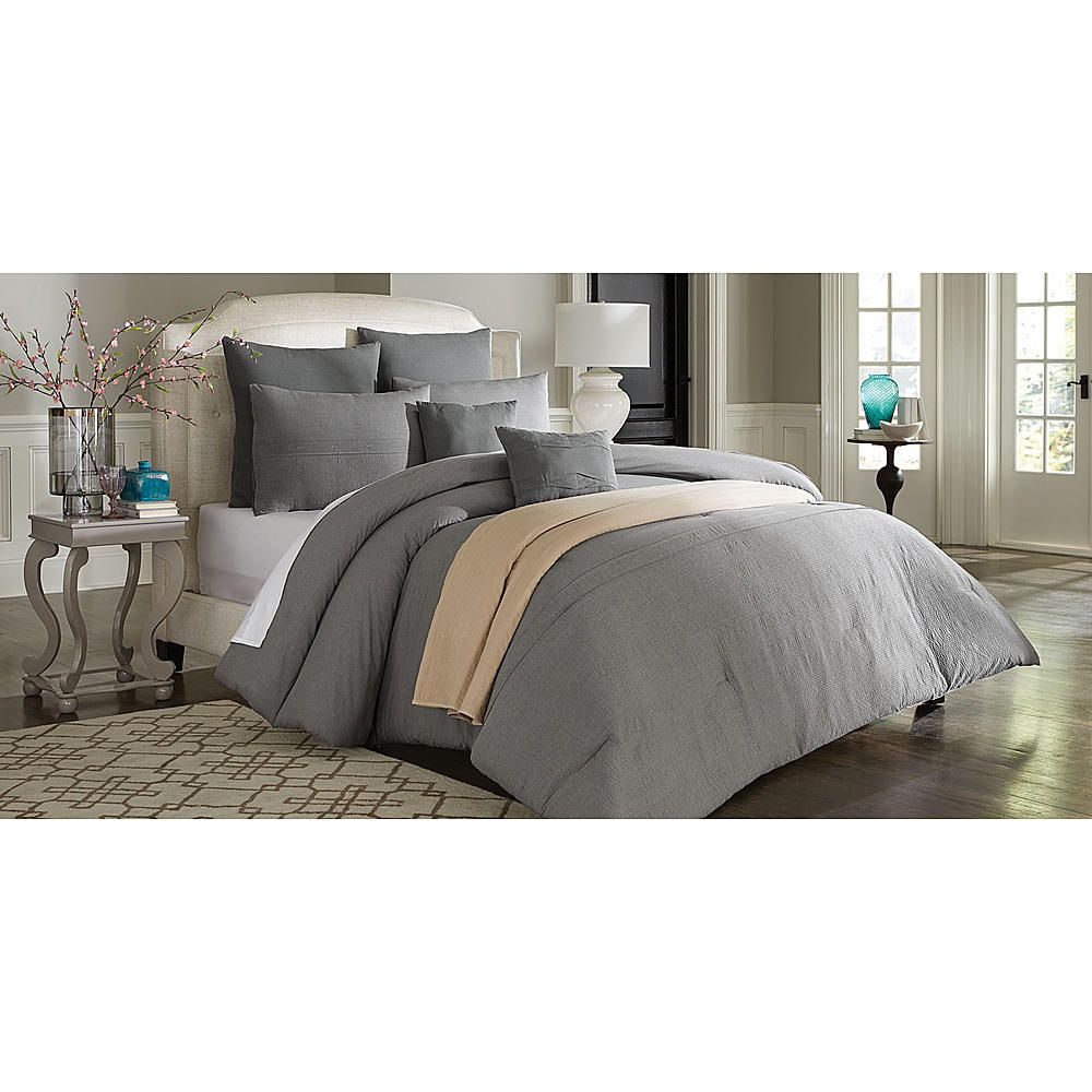 Cannon Vintage Wash Linen Look Comforter Set Grey Stone
