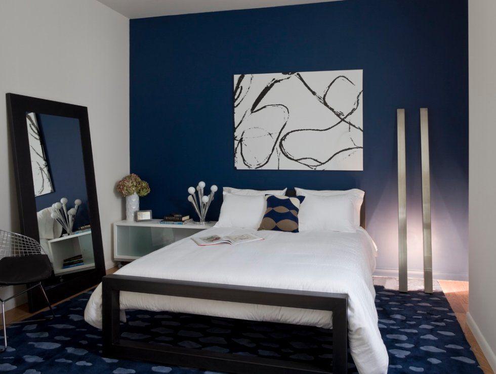 Dark Color Bedroom Ideas Part - 26: Combinação De Cores Extremamente Cansativa (só De Olhar Já Me Cansei), Mas  O. Blue Accent WallsNavy Blue WallsDark Blue BedroomsBedroom ...