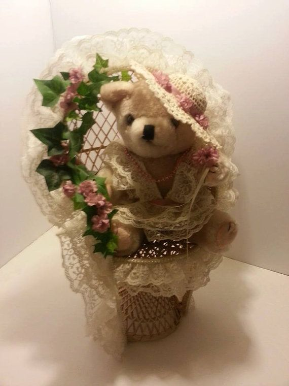 Wicker Rattan Teddy Bear And Wicker Chair With Lace And