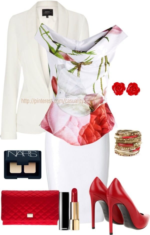 """Floral Print Peplum Top & Sexy Red"" by casuality on Polyvore"