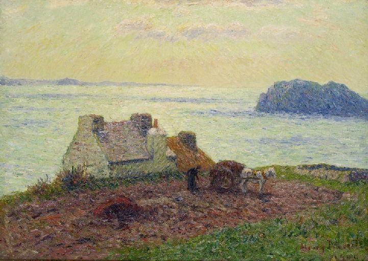 Maison de marin donnant sur la baie de  Lampaul, Ouessant    Iroise    Brittany