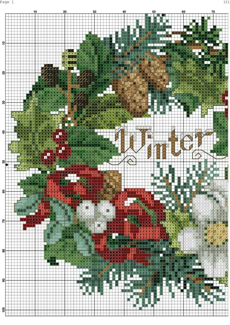 X4 Snowflakes And Flowers Wreath And Card Christmas Cross Stitch Chart