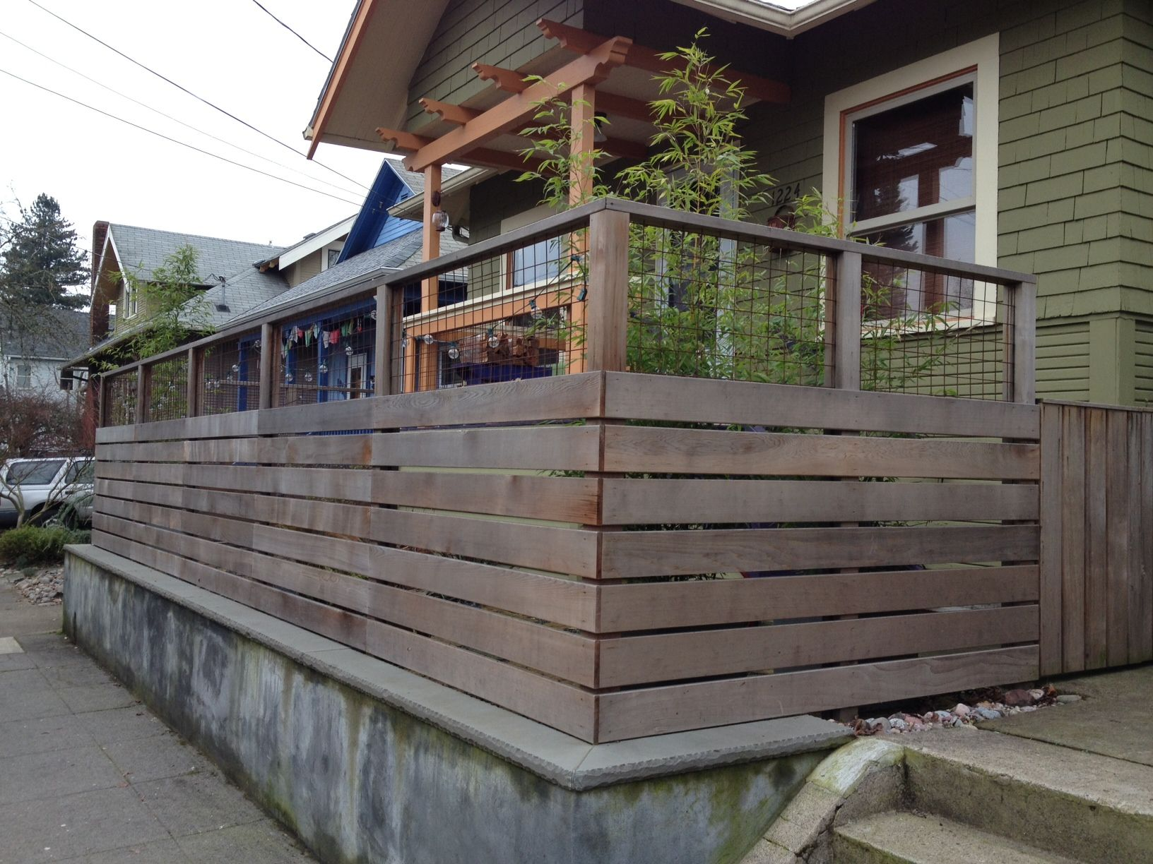 Fence With Metal Mesh Top