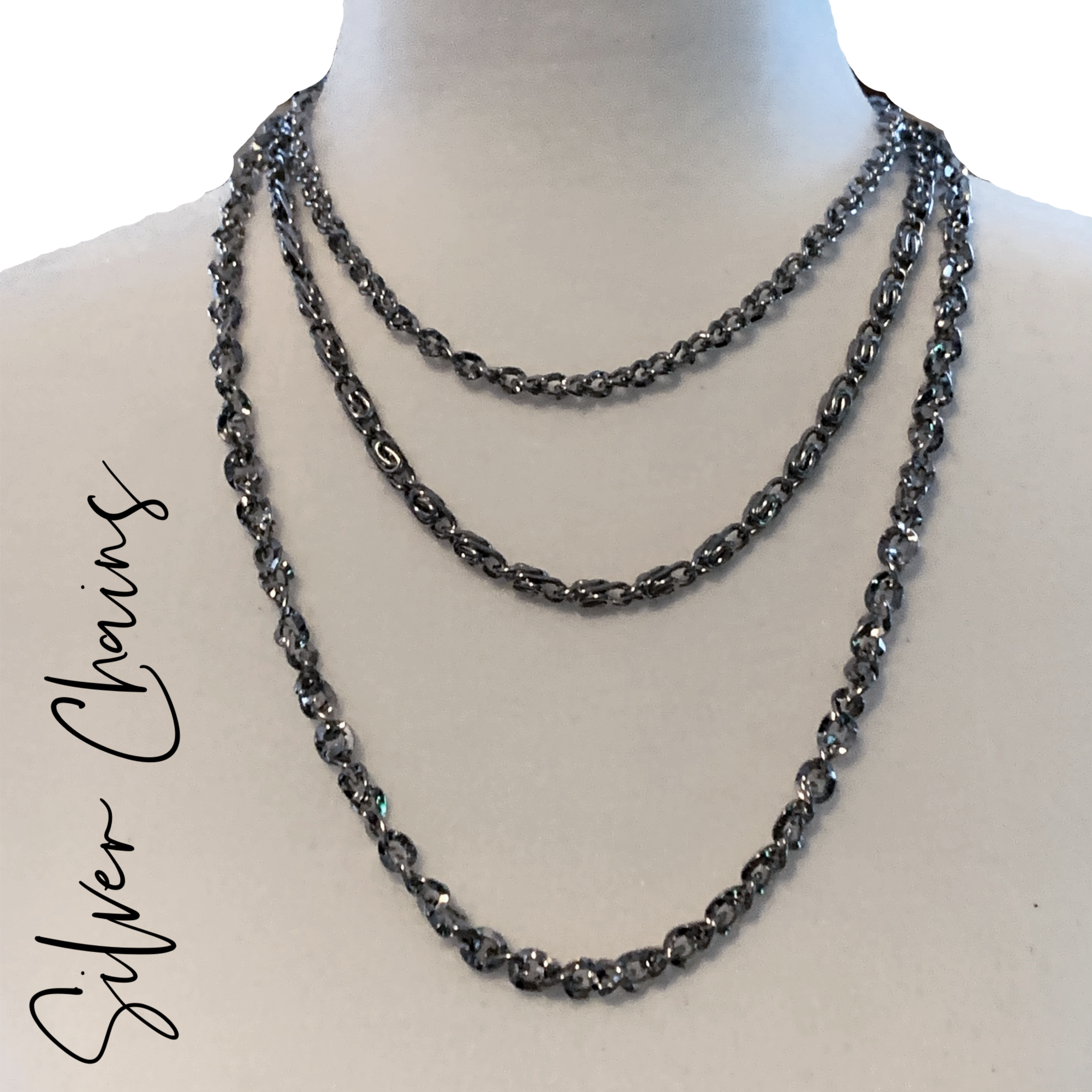 Vintage 3 Layer Silver Chain Necklace Ebay Silver Chain Necklace Silver Chain Chain Necklace