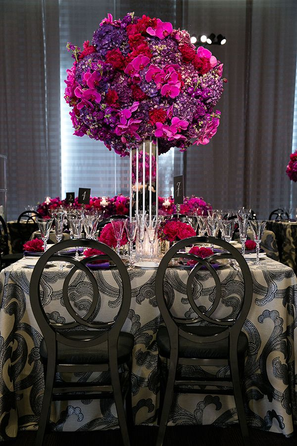 Luxurious Fuchsia And Charcoal Wedding Reception Arrowood Photography