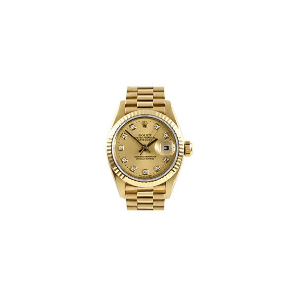Pre-owned Rolex Women's 18k Gold President Watch ($8,411) ❤ liked on Polyvore featuring jewelry, watches, accessories, 18 karat gold jewelry, gold wrist watch, yellow gold watches, preowned watches and 18k gold watches