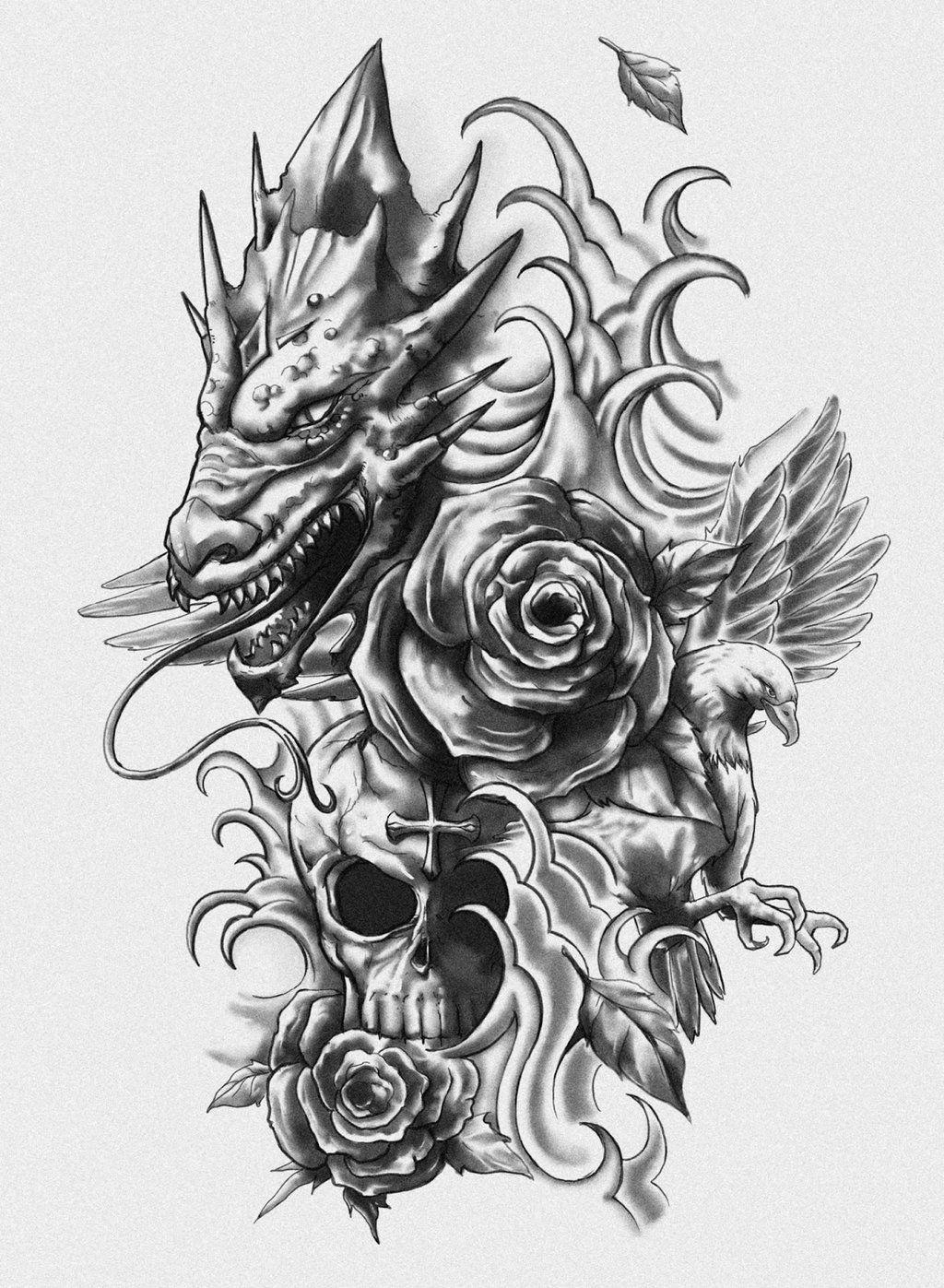 Dragon Skull Eagle Tattoo Design By Crisluspotattoos D6vutdl Jpg 1024 1397 Half Sleeve Tattoos Designs Dragon Tattoo With Skull Eagle Tattoo