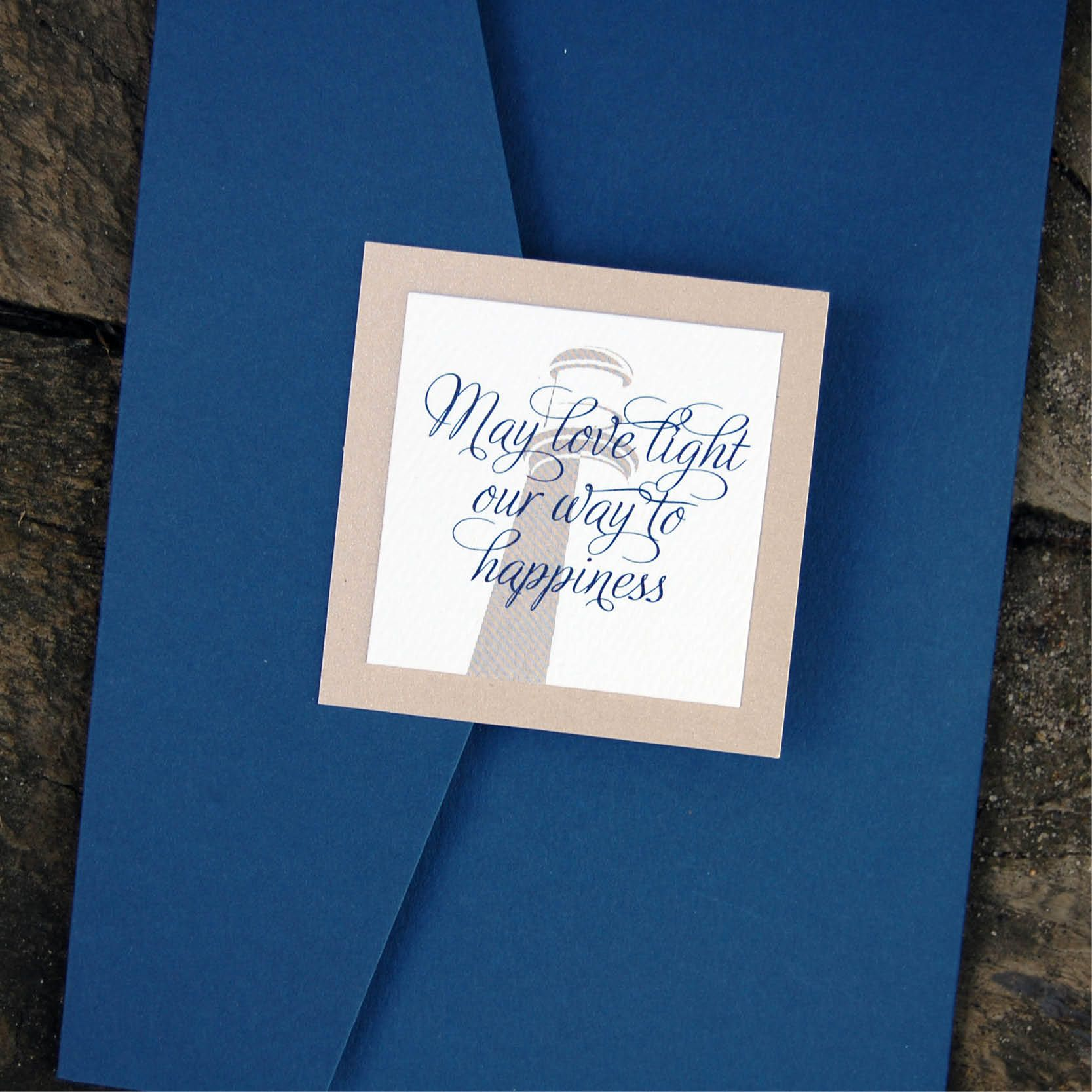 "Wedding Invitation Love Quotes May Love Light Our Way To Happiness"" Quote For Lighthouse Wedding"