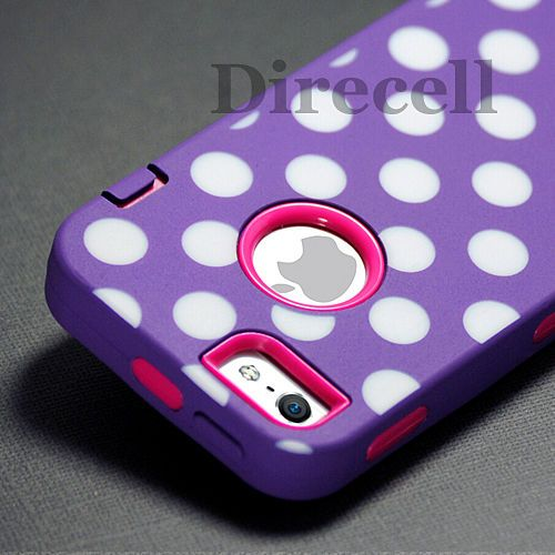 Purple Polka Dots Hot Pink Impact Hybrid Hard Silicone Case Cover for iPhone 5