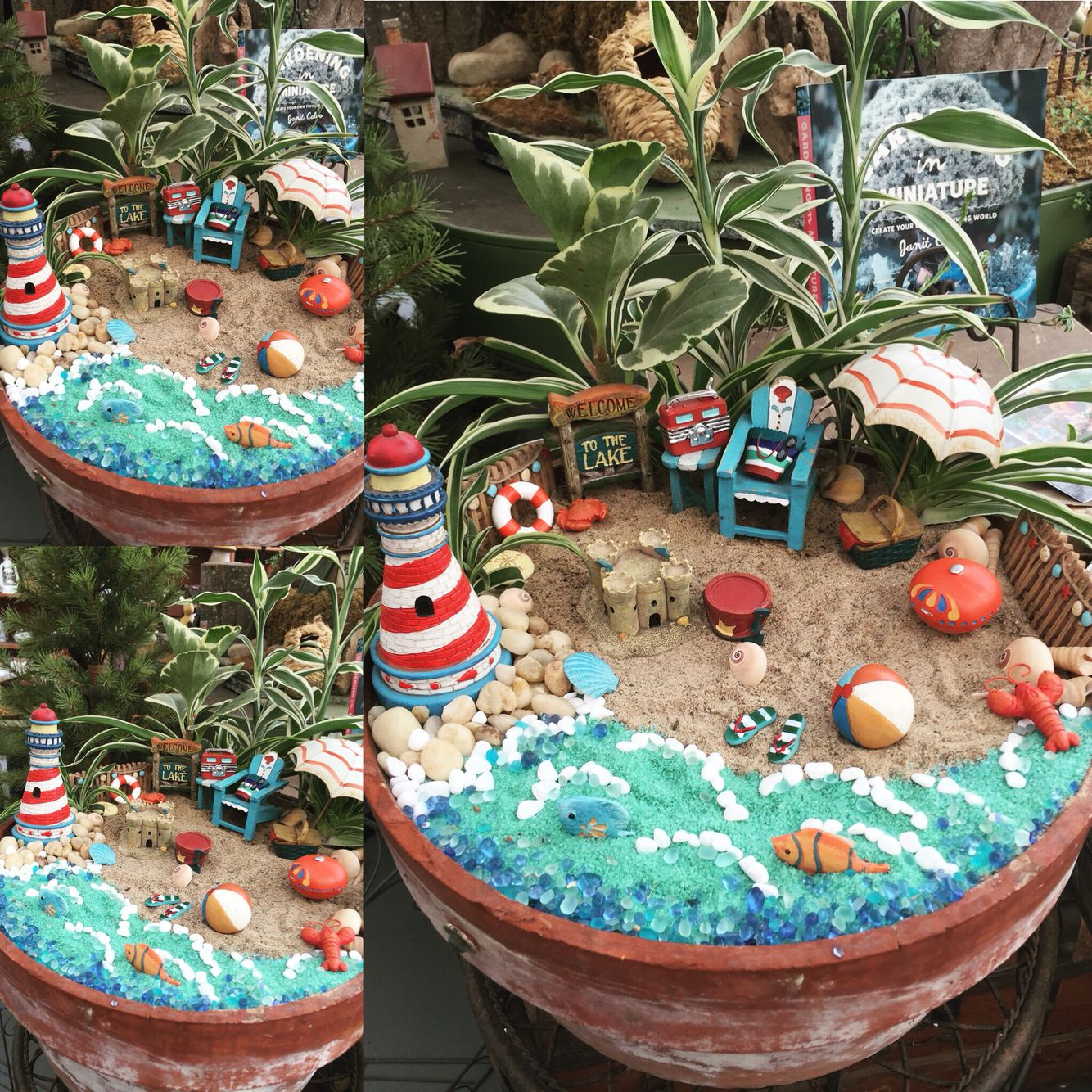 Beach Themed Fairy Garden. #fairygarden #fairyhome #beach #fairy #garden #