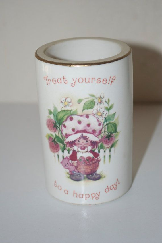 "Strawberry Shortcake Candle Holder 1980 American Greetings Guild House ""Treat Yourself to a Happy Day!"" on Etsy, $14.95"