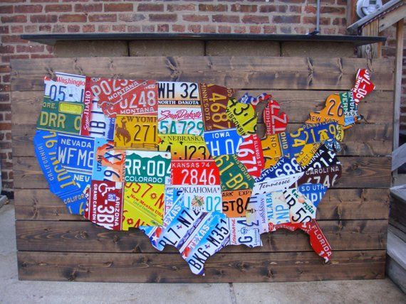 Large 3d Usa License Plate Map Art All 50 States Pub Bar Art In - Us-plates-map