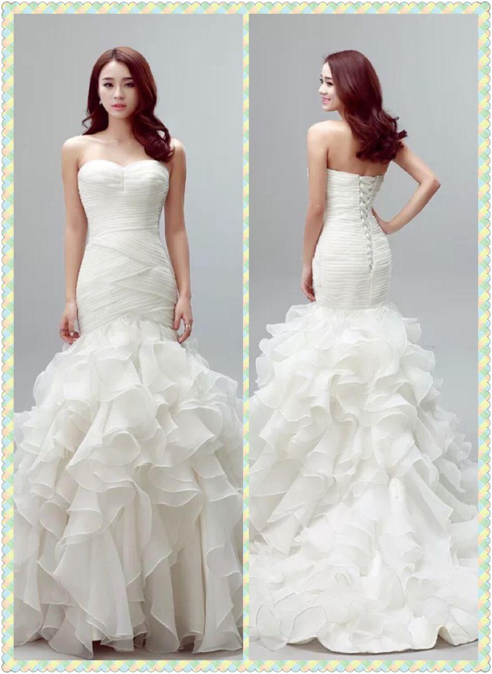 Sexy mermaid sweetheart neckline riches bodice organza ruffled bottom bridal wedding dresses