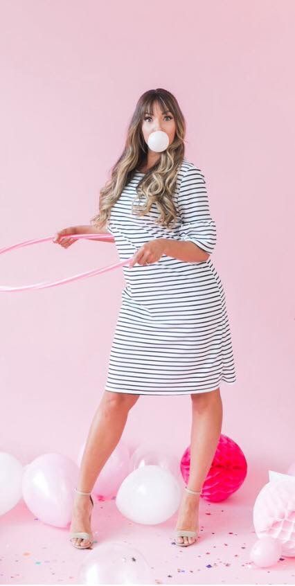 Solids and stripes oh my! 🖤💝  We have our feminine and flirty Bell Sleeve Dress not only in two solid colors but stripes too 🎉           Use my code NATRALW10 for 10% off your order 🛍  #poppyanddotrockstar #poppyanddotambassador