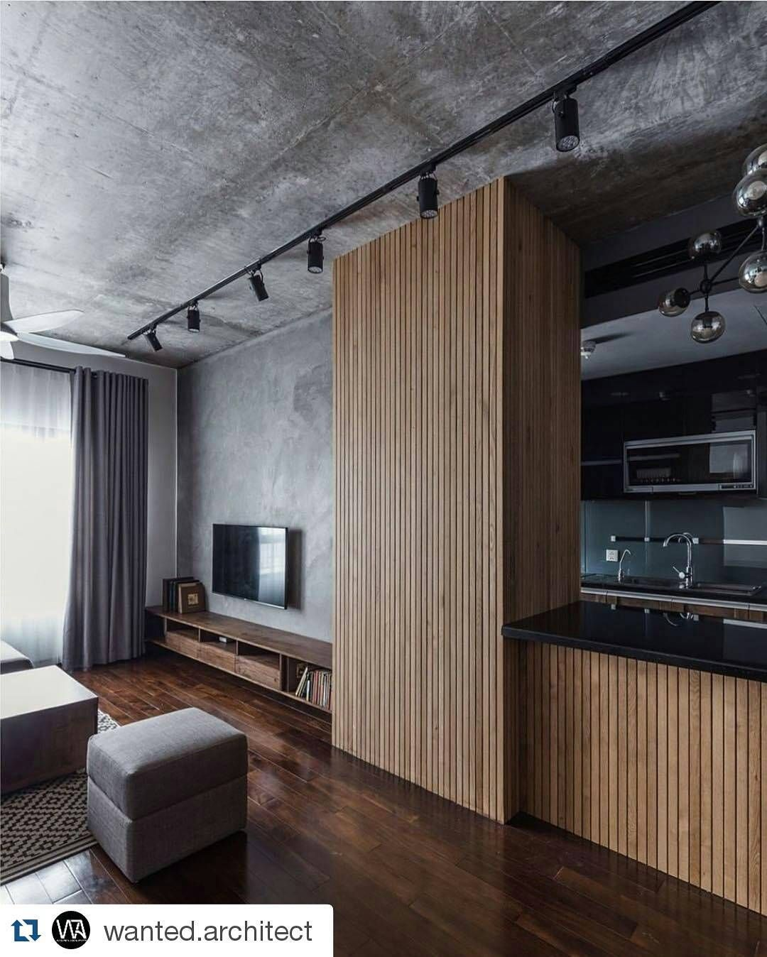 Concrete U0026 Timber Filled Apartment Designed By Le Studio 💭 Featuring  Floating Timber Cabinetry U0026 Panelling With Matte Black Track Lights 📷 ~  Home Adore ... Gallery