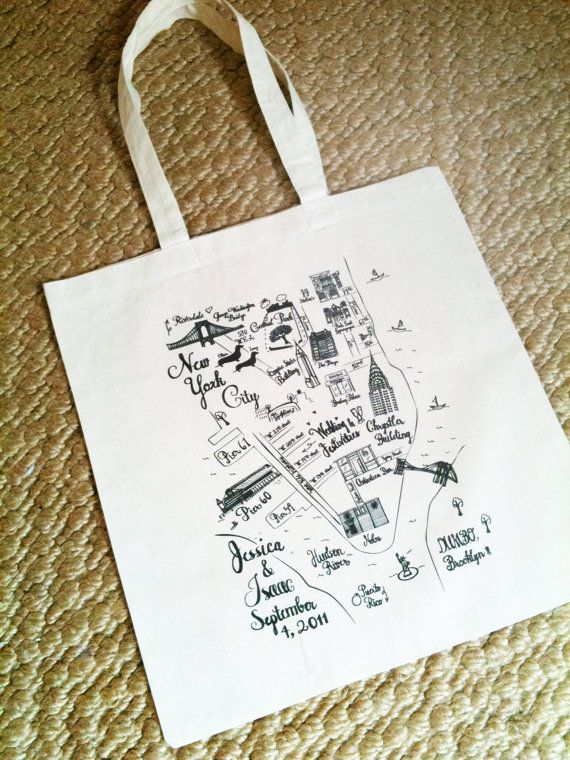 Wedding Favor Tote Bags Custom Map By Jackandjillwedding On Etsy