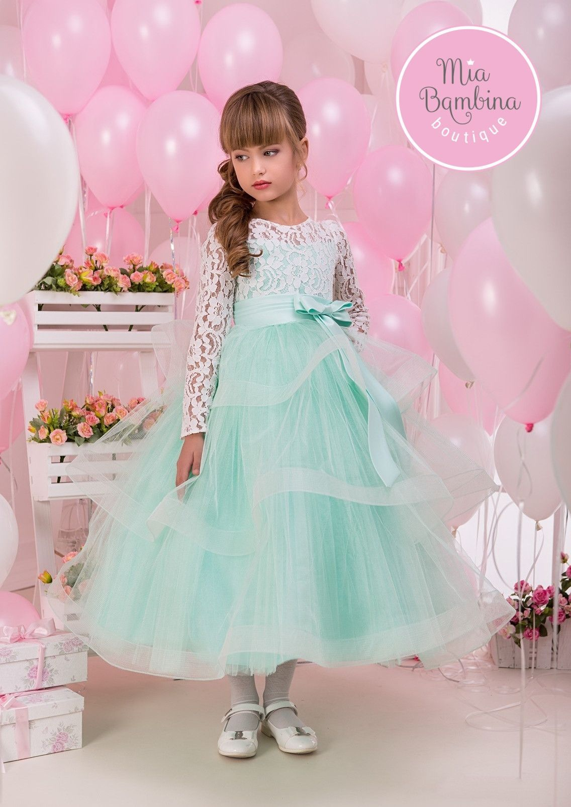 40d0999be67 Flower Girl Dresses White Lace Top   Mint Tulle Skirt Flower Girl ...