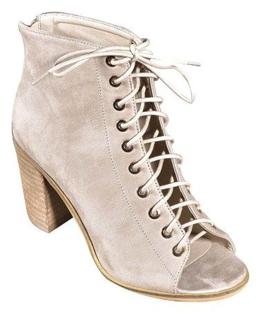 Love this Beige Zip Peep-Toe Boot on #zulily! #zulilyfinds