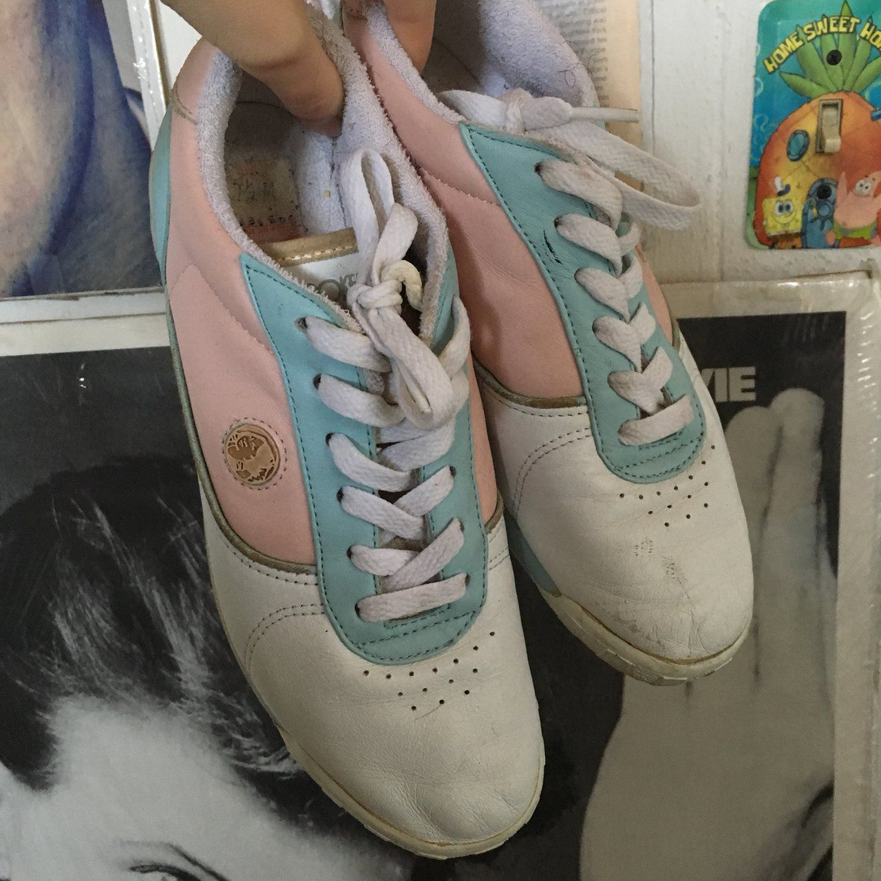 3edcaffa32c9e Vintage pastel Cherokee tennis shoes. These are so cute for an 80s pastel  look. They are 7.5 but then fit pretty snug. These shoes are super old so  they ...