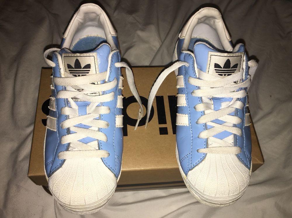 Adidas Superstar Light Blue White Stripe Sz 4 Vintage Shell